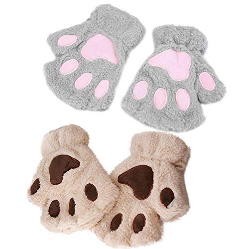 INTVN Guantes de felpa Invierno precioso oso de gato garra de la pata de la pata guantes de felpa guantes de mujer media cubierta guantes femeninos