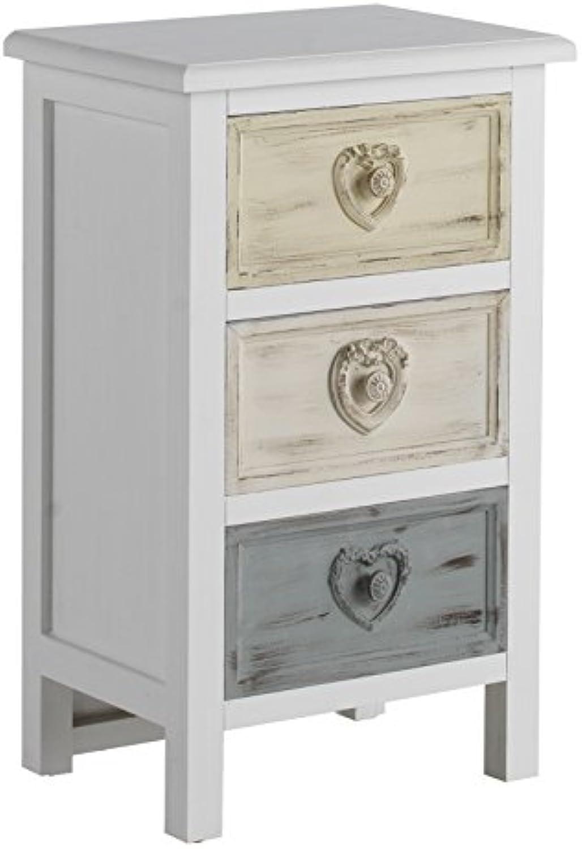 GEESE 7659 - Mesita de Madera con 3 cajones, 30 x 40 x 66 cm, Color Blanco