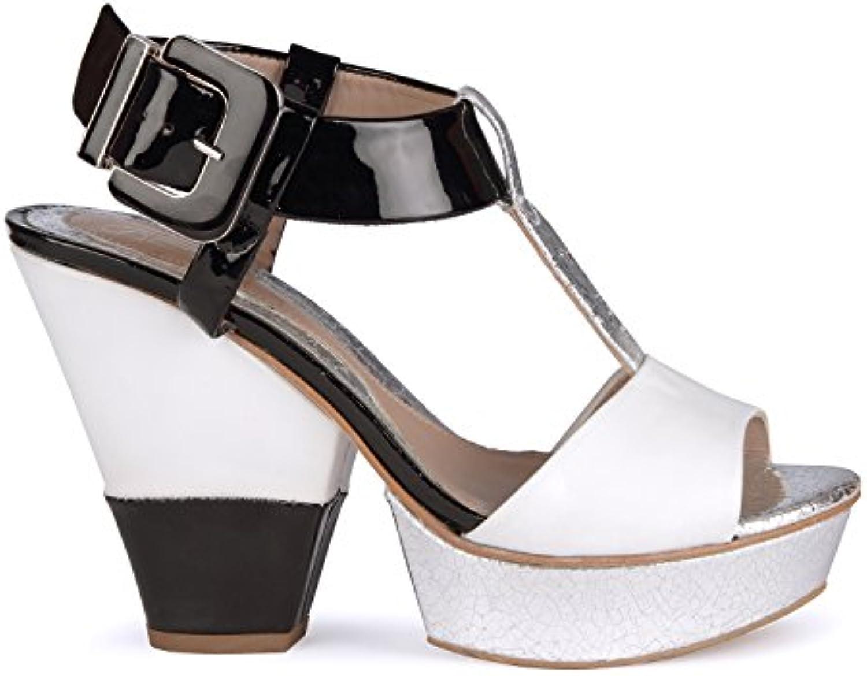 Zapatos De Verano Baotou Sandalias De Tacón Alto Hebilla De Cinturón Femenina Sandalias De Tacón De Cuero (Color... -