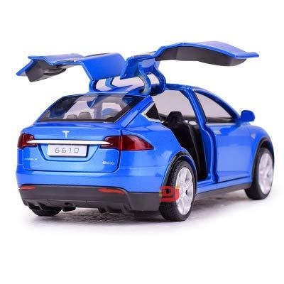 DishyKooker Tesla Auto-Modell mit Rückziehfunktion, elektronisches Spielzeug mit Simulationslichtern und Musikmodell, Auto-Spielzeug für Kinder, Geschenk blau (Kinder Elektronische Auto)