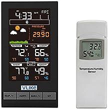 Estación meteorológica de pantalla en color, VLIKE Estación meteorológica avanzada con sensor inalámbrico impermeable al aire libre, temperatura, humedad, barométrica, fase lunar y pronóstico avanzado