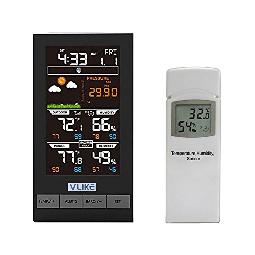 VLIKE Digitale Funk Wetterstation mit Funkuhr und Innen-Außentemperatur-Thermometer, Wetterstationen,Luftfeuchtigkeit Eisalarm Luftdruck grafische Mondphasenanzeige (Innen-luftfeuchtigkeit)