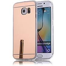 DBIT Galaxy S6 Edge Funda, Gel Espejo TPU Silicona Ultra delgado Protección Funda Durable Estuche Carcasa Case para Samsung Galaxy S6 Edge,Rose Oro