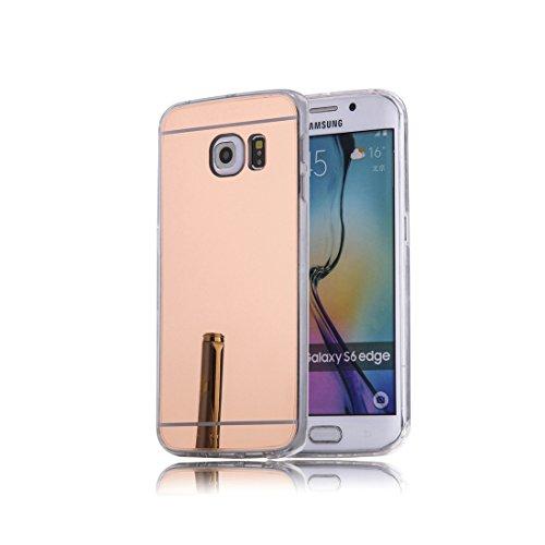DBIT Galaxy S6 Edge hülle, Schlank Handy-Gehäuse Hülle Spiegel TPU Case Schutzhülle Silikon Case Tasche Für Samsung Galaxy S6 Edge,Rose Gold