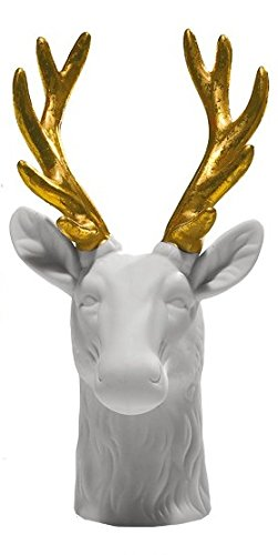 Drescher Living-Testa di cervo di porcellana bianco/oro