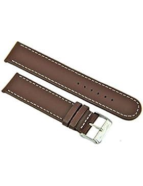Uhrenarmband Leder Braun Glatt mit Weißer Naht 12-20mm Armband Uhr Band 14mm