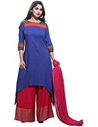 Rama Women's Solid Rayon High-Low Kurta With Palazzo Dupatta Set