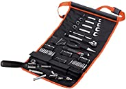 Black+Decker 77 Pieces Automotive Roll-up Kit with Socket Wrenches & Screwdriver Bitsets , Orange/Black -