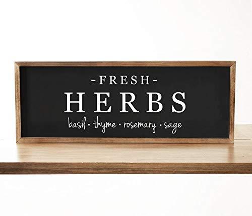 Derles Schild mit frischen Kräutern, Bauernhaus-Schild, Frühlingsdekoration, Garten, Holzschild, Bauernhausdekoration, rustikales Dekor - Garten Frische Kräuter