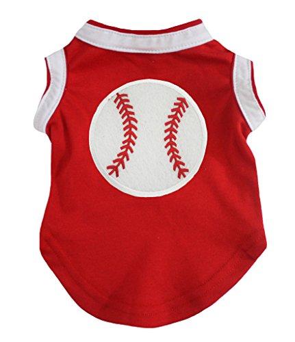 petitebelle Baseball rot weiß Baumwolle T-Shirt Hund Kleid -