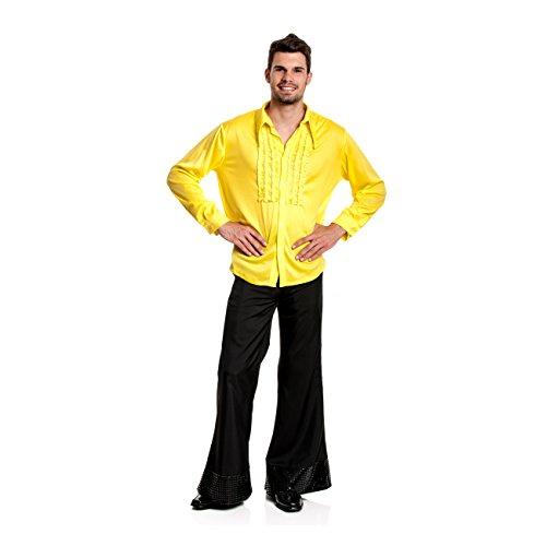 Kostümplanet® Rüschenhemd gelb Herren Rüschen-Hemd Disco 70er Jahre Kostüm Größe 52/54