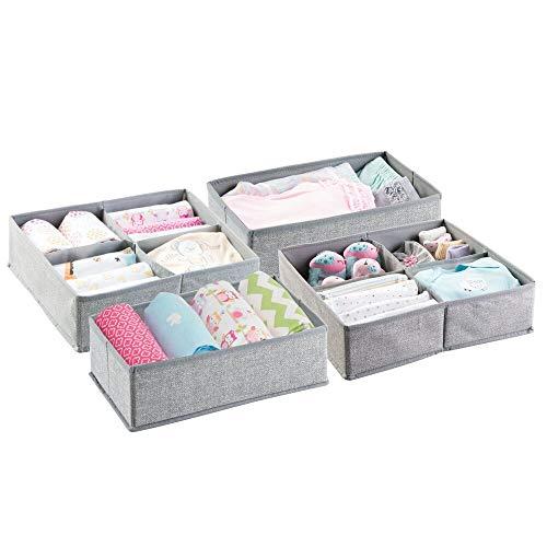 mDesign boîte de rangement – panier de rangement idéal pour ranger vos vêtements, maquillage, jouets, couches, lingettes, médicaments, etc. – Set de 4 – pratique bac de rangement – couleur : gris
