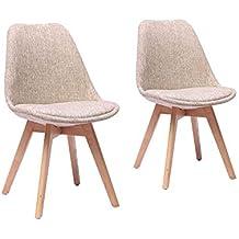 usinestreet lot de 2 chaises scandinaves prya en tissu avec coussin et pieds en htre - Chaise Scandinave Beige