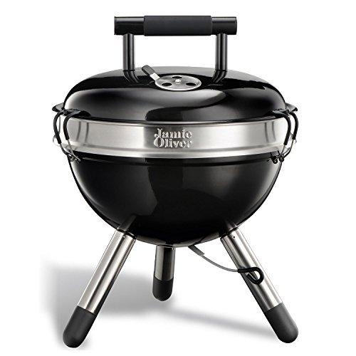 Jamie Oliver C2140V - BBQ Holzkohle Grill Park, tragbarer Edelstahl-Kugelgrill mit Griff - schwarz, 38x18x38cm