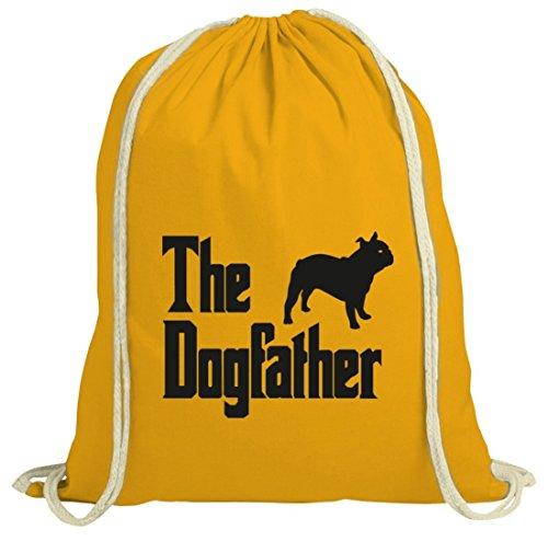 Bulldogge Dog Hund natur Turnbeutel mit The Dogfather Motiv von ShirtStreet gelb natur