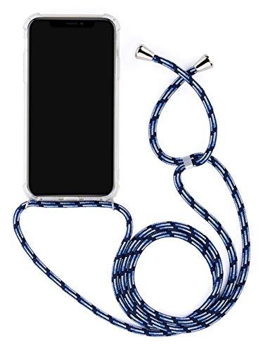 WIWJ Für Huawei P30 Lite Hülle Kordel Transparent Weich Silikon TPU Schutzhülle Mädchen Necklace Hülle mit Kordel zum Umhängen Schnur mit Handyhülle Kratzfeste Stoßfest Panzerglas Tasche-Blau