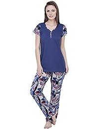 Claura Abstract Print Blue Cotton Night Suit Pyjama Set