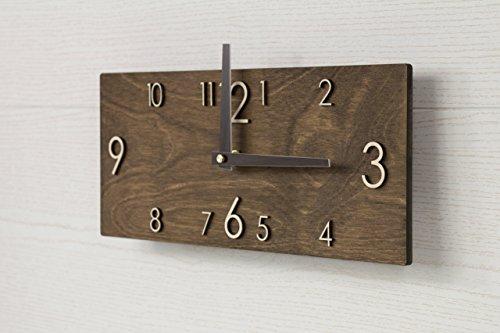 Hölzerne Wanduhr - Handgefertigte Dunkelbraune Wanduhr - Rechteckige Wanduhr - Moderne Wanduhr – Skandinavischer Stiel Uhr – Wanddekor