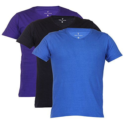 Teestadka Men's Cotton Plain V Neck Tshirts for Men Value Pack Combo Offers for Men in Multicolor Pack of 3
