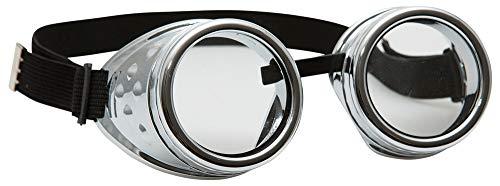 Orlob Steampunk Schweißerbrille - Silber - Zubehör Erfinder Zeitreisender Kostüm Goggles Retropunk Schweißerbrille