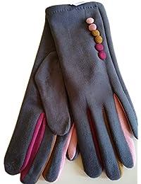 186fcce3d4 Womens Ladies Faux Suede Button Trim Touch Screen Gloves