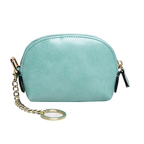 Longra Chiusura lampo tinta unita, piccola borsa e mini portafogli in pelle PU per donna Verde menta