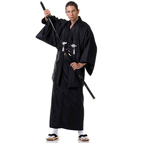 Princess of Asia Japan Herren Samurai Yukata Kimono Haori & Obi Baumwolle One Size M L XL Schwarz
