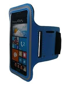Emartbuy® Hellblau Shockproof Reflektierende Sport Gym Jogging Armband Velvet Finish (Größe 4) Mit Klettverschluss Geeignet Für Samsung Ativ S I8750