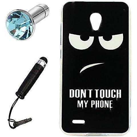 Lusee® Custodia in Silicone Caso per Alcatel Onetouch Go Play / 7048X 5.0 pollice morbida di TPU Protettiva Cover Case + spina della polvere e penna tocco Nero Don't touch my phone