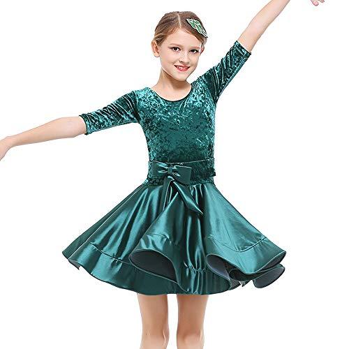 Tanz Wettbewerbs Kostüm - HUO FEI NIAO Latin Dance Kostüm Kinder weiblich Wettbewerb Standard Kleidung Kostüme Mädchen Tanz Röcke (Farbe : Grün, größe : 130cm)