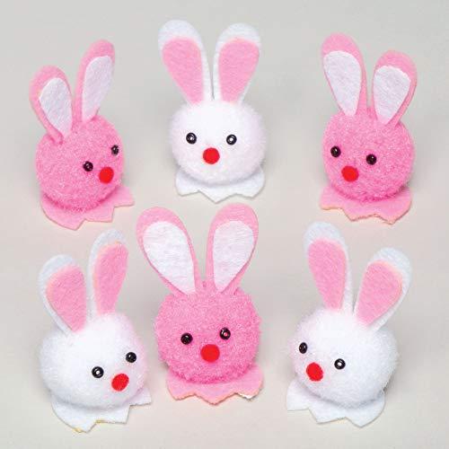 Baker ross coloratissimi mini coniglietti pompon (confezione da 10) per bambini ideali per decorare