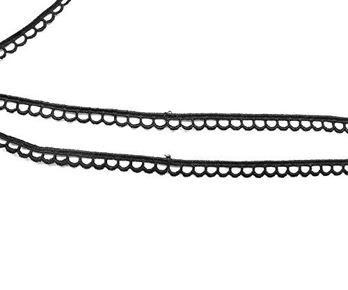 9mm di larghezza nastro nero in tessuto pizzo in cotone poliestere-perfetto per abbigliamento, fasce per capelli, decorazioni e Embellishemnts L24Trimming Shop (5metres)