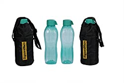 Signoraware Aqua Bottle with Bag Set, 500ml, Set of 2, Green
