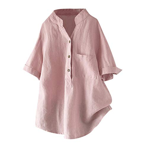 (Zegeey Damen T-Shirt Kurzarm V-Ausschnitt Baumwolle Leinen Sommer Casual Tops Bluse Oberteil Hemd Mit Tasche LäSsige Lose Weiß Pink Navy(Rosa,EU-40/CN-L))