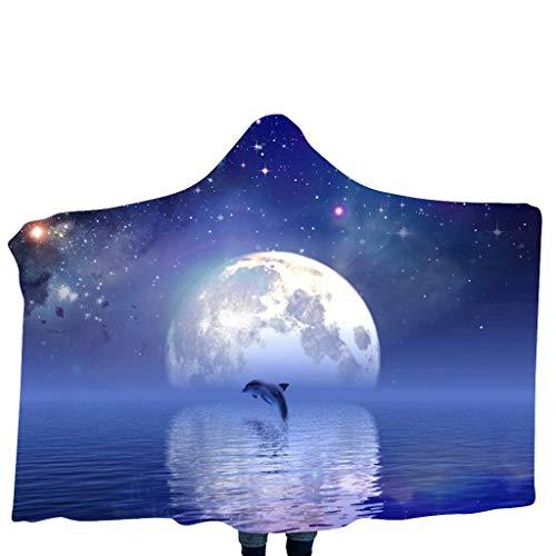 Des Garten Galaxy Kostüm - Halloween-Decke mit Kapuze Psychedelic 3D Galaxy Skull Print Sherpa Fleece tragbare Decke Mikrofaser Bettwäsche Couch Kostüm Kinder Mantel Schal Halloween Cosplay Zubehör 39,4 x 55,1 Zoll