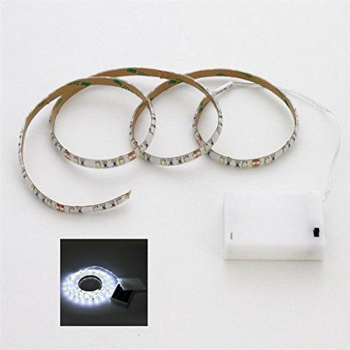 Tira de luz LED blanco 100 cm 3 pies, + + interruptor caja de la batería 3in., funciona con pilas