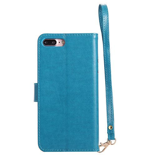 Cover iPhone 7 Plus, Custodia iPhone 7 Plus, Leweiany iPhone 7 Plus Custodia a Portafoglio Wallet / Libro in pelle Cover Elegante e di Alta Qualità Ragazza di Fiori della Gatto Luminoso Bling Strass G Blu