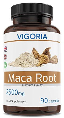 Maca peruana - 2500 mg 90 cápsulas para 3 meses - Extracto natural 10: 1 de polvo de pura raíz de maca andina - Mejora los niveles de energía, resistencia, memoria - Da vitalidad a hombres y mujeres