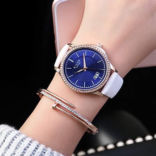 Damen Uhr, 4 Farben Hochwertige Moderne beiläufige Legierungs Quarz Armbanduhr mit haltbarem PU-Leder Uhrenarmband(Weiß) (Hochwertige Leder-uhrenarmbänder)