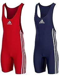 "Adidas ""Performance Basic Doppelpack"" rot & blau Herren Ringer Anzug / Wrestler Anzug / GRÖßENAUSWAHL"