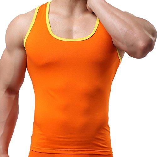Longra Herren Tanktop Tank Top Tankshirt T-Shirt Classic Athletic Unterhemd - Ärmellos Weste Muskelshirt Fitness-Shirt - Herren Slim Fit Sport Gym Shirt Achselshirt Trainingshirt (M, Orange)