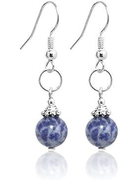 2LIVEfor Handmade Ohrringe Kugeln Blau Echte Perlen Sodalit Silber Hängend Versilbert blaue Ohrringe Naturstein...