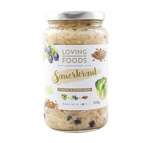 Loving Foods Orgánico Chucrut Alcaravea y Bayas de Enebro (500g) CRUDO | SIN PASTEURIZAR | VIVO (1 x Jar)