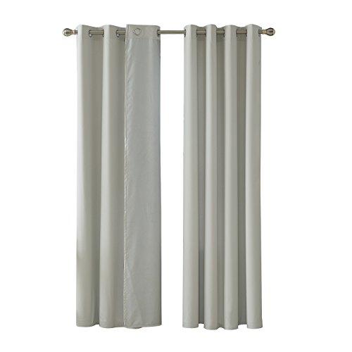 Deconovo Lot de 2 Rideaux de Porte avec Revêtement Argenté Doublé Thermique à Oeilles Imperméable 140x180cm Blanc Gris