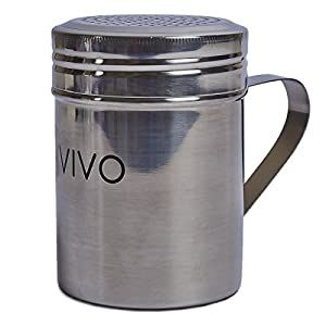 LIVIVO Stainless Steel Powder Decorating Shaker for Chocolate, Cocoa, Sugar, Salt, and Flour Dusting