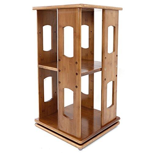 QIANGDA Kleines Bücherregal Bücherschrank 360 Grad Drehen Bücherregal Bürotisch Lagerregal Bücherregal Bambus, 33 X 33 cm, 1 Tier / 2 Stufen Optional (größe : 2 Tiers) -