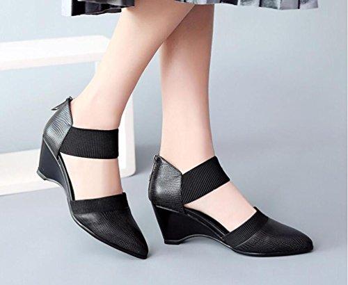 Beauqueen OL Pumps Hochzeit Wedge Mid Heel Elastische Gürtel Frauen Mandel geformte Zehen Knöchelriemen Elegante Schuhe EU Größe 34-39 Black