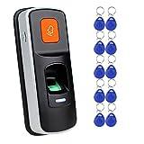 RFID Indipendente Autonomo Impronta Digitale Access Control Reader Apriporta Biometrico Supporto SD Card + 10pcs RFID Telecomando blu 125KHz