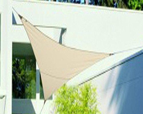 PEGANE Voile d'ombrage Triangulaire Sable en Polyester 200g/m² Anti-UV, 500 cm x 500 cm x 500 cm avec kit de Fixation