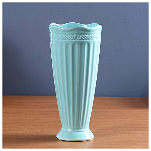 Vases LXF Cheval Rayures Haute qualité en céramique Table à Manger Bureau comptoir décoration Accueil Salon Chambre décorations de Chevet Artisanat (Couleur : B, Taille : 14 * 15 * 26cm)
